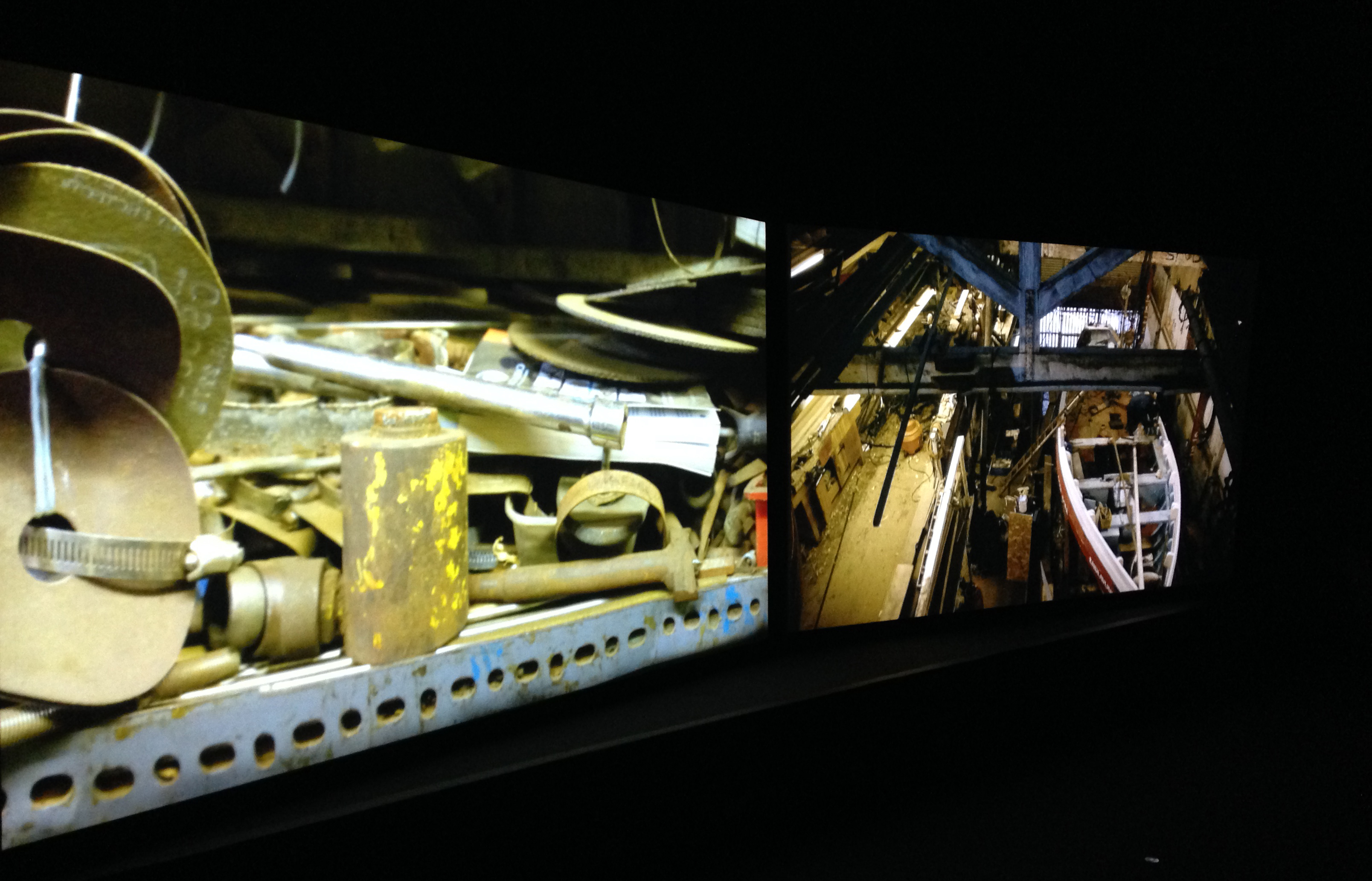 Mikhail Karikis, The Endeavour (2015), two-channel & stereo sound installation at The Gallery, Tyneside Cinema, Newcastle, UK