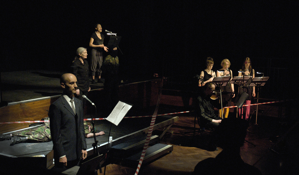 Xenon: an exploded opera, Sallis Benney Theatre, UK, 2010. With Monica Ross, Elaine Michener, Juice Voice Ensemble, Conall Gleeson, Natasha Davies, Mikhail Karikis.