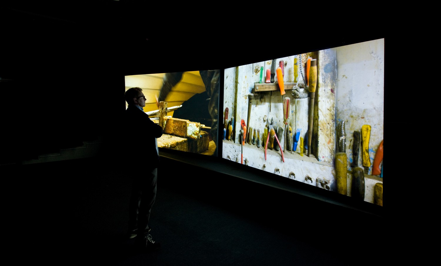 Mikhail Karikis, The Endeavour (2015), two-channel & stereo sound installation at The Gallery, Tyneside Cinema, Newcastle, UK. Installation view © Colin Davison