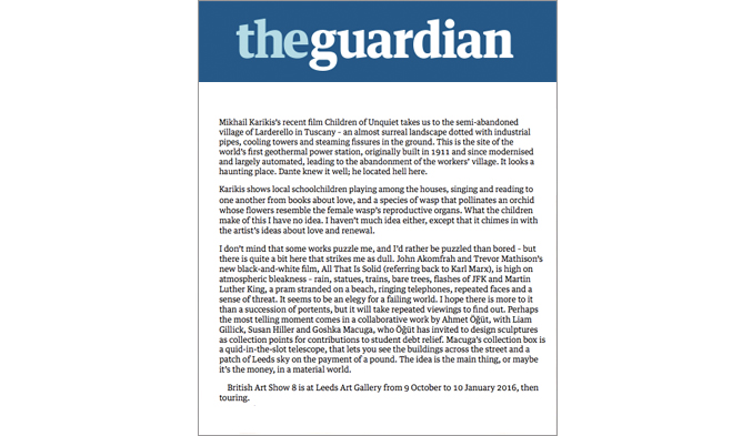 British Art Show 8 Review, The Guardian