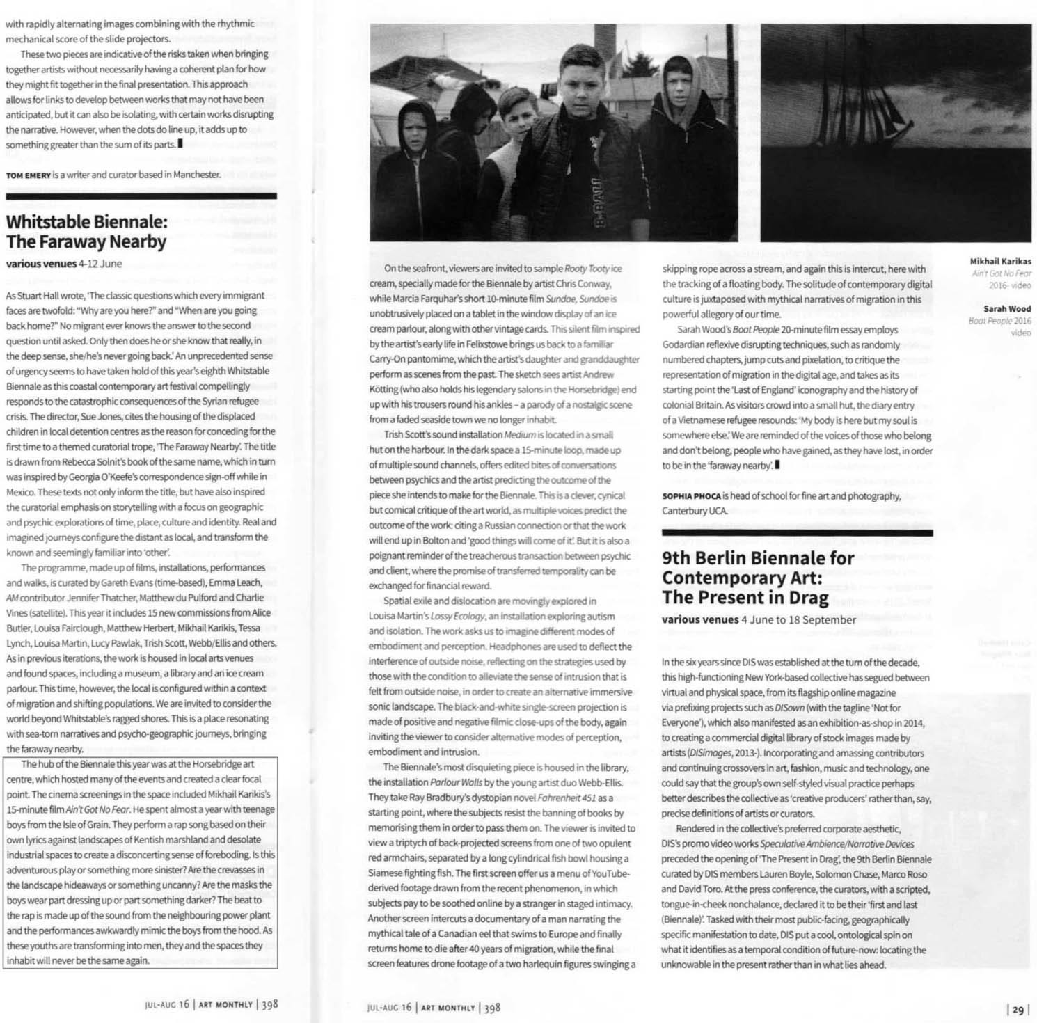 Art Monthly: Review, July-August 2016