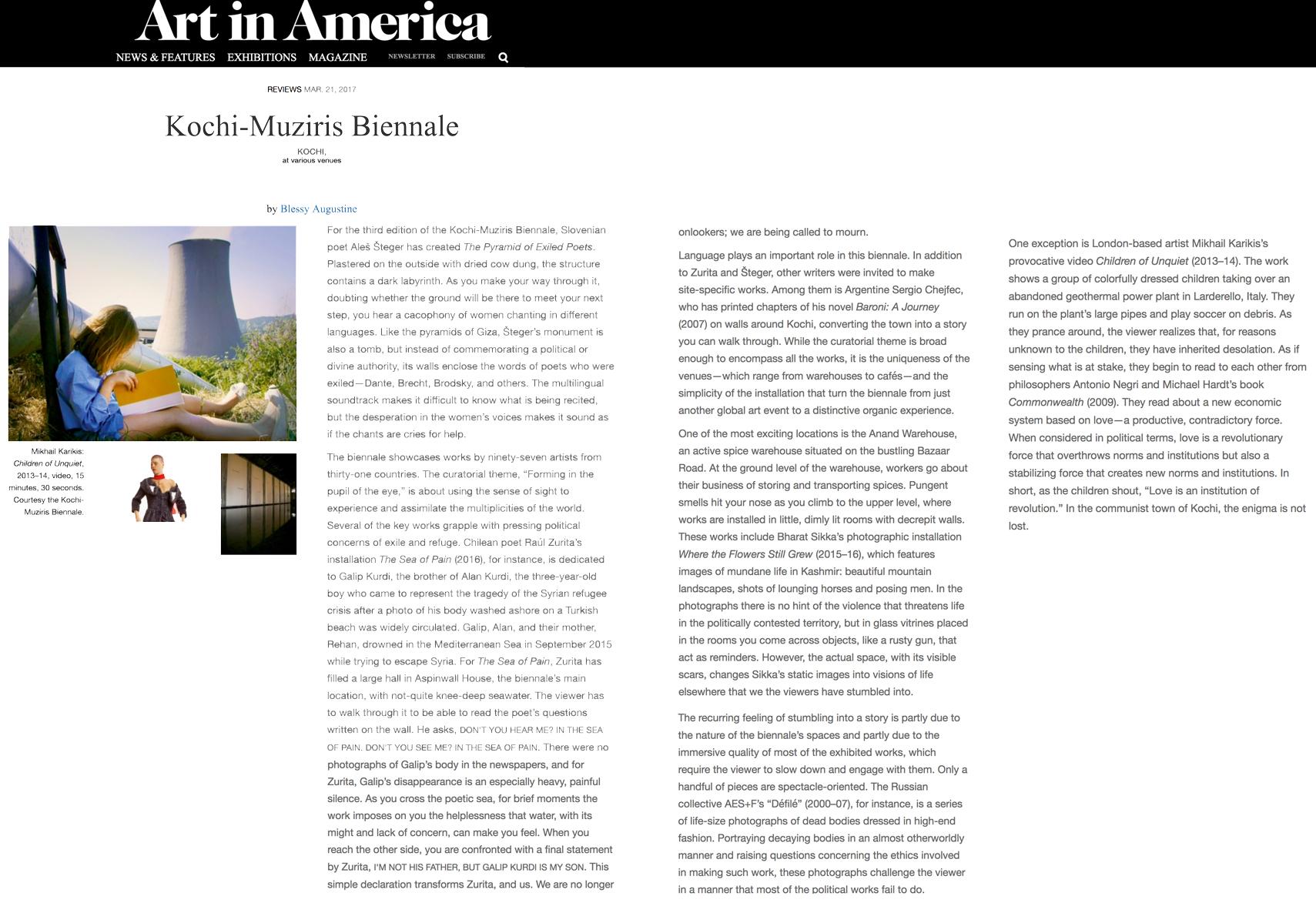 Art in America: Kochi-Muziris Biennale 2016-2017 (review)
